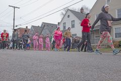 Cleveland Ohio `A Christmas Story` Fun Run/Walk. Participants in the 2017 `A Christmas Story` 5k/10k fun run/walk makes their way from downtown Cleveland into Stock Photography