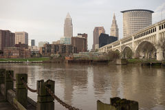 Cleveland Ohio Downtown City Skyline Cuyahoga River Royalty Free Stock Images