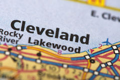 Cleveland, Ohio on map. Closeup of Cleveland, Ohio on a road map of the United States royalty free stock images