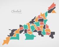 Cleveland Ohio Map con las vecindades y las formas redondas modernas ilustración del vector