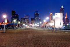 Cleveland, Ohio Skyline. At Sunset from Voinovich Park royalty free stock photography