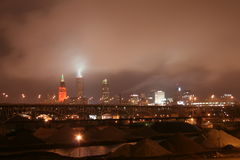Cleveland Ohio Skyline. Cleveland skyline on a cold and foggy winter night Royalty Free Stock Photos