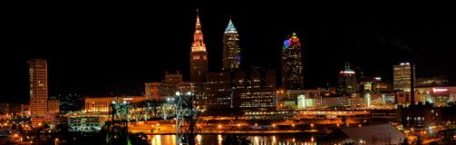 Cleveland Ohio Skyline. Panorama of Cleveland, Ohio, USA. Downtown skyline with skyscrapers and city lights. Cleveland from Lake Erie, with the Key Tower, the BP royalty free stock image