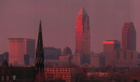 Cleveland Ohio at Sunset. Cleveland is a city in the U.S. state of Ohio and the county seat of Cuyahoga County, the state`s second most populous county royalty free stock photography