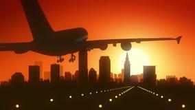 Cleveland Ohio USA America Skyline Sunrise Landing royalty free stock photo