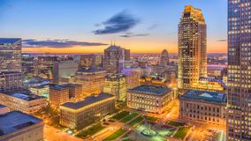 Cleveland, Ohio, USA Cityscape. Cleveland, Ohio, USA downtown cityscape at dawn royalty free stock images
