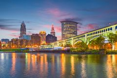 Cleveland, Ohio, USA Skyline stock image
