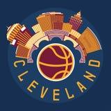 Cleveland Ohio Usa flat design  illustration with basketba Stock Images