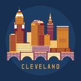 Cleveland Ohio Usa flat design  illustration of skyline Stock Images