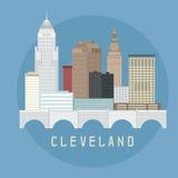 Cleveland Ohio Usa flat design  illustration of skyline Royalty Free Stock Photography