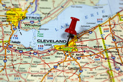 Cleveland in Ohio, USA. Map with pin point of Cleveland in Ohio, USA stock image
