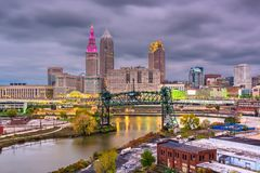 Cleveland, Ohio, USA Skyline. On the river stock photography