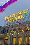 Cleveland Playhouse Square sign lit up at night in Cleveland, Ohio, USA. stock image