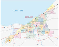 Cleveland road and administrative map Royalty Free Stock Images
