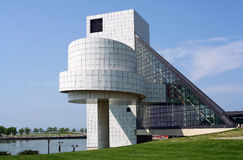 Cleveland Rock and Roll Hall of Fame. A view of the Rock and Roll Hall of Fame in Cleveland, Ohio. This popular museum to the legends of Rock and Roll is located Stock Images