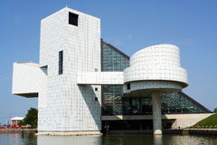 Cleveland Rock and Roll Hall of Fame. A view of the Rock and Roll Hall of Fame in Cleveland, Ohio. This popular museum to the legends of Rock and Roll is located Royalty Free Stock Photography