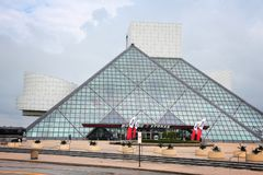 Cleveland Rock And Roll. CLEVELAND, USA - JUNE 29, 2013: Exterior view of Rock and Roll Hall of Fame in Cleveland. It is a famous museum established in 1983 Stock Photo