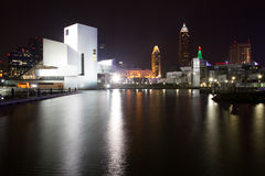 Cleveland Rocks. Rock and Roll hall of fame filling in the from, with the Cleveland Skyline behind it stock photo