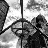 The GE Chandelier in the center of Playhouse Square in Cleveland, Ohio. Cleveland`s historic Playhouse Square turned on the world`s largest permanent outdoor royalty free stock photography
