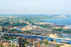 Cleveland shoreline aerial Royalty Free Stock Photos