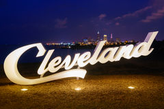 Cleveland sign from Edgewater Park royalty free stock photography