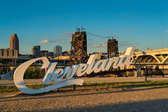 Cleveland sign. A Cleveland sign, one of three in the city, overlooking downtown from the near west side royalty free stock photo