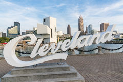 Cleveland Sign and Skyline from Harbor Walkway Stock Photo