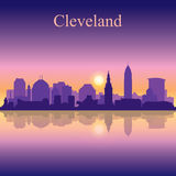 Cleveland silhouette on sunset background Royalty Free Stock Photos