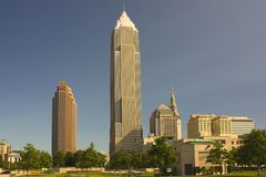 Cleveland skyline. Architectural skyline of Cleveland city, Ohio, U.S.A stock images