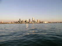 Cleveland Skyline. At sunset from 1/2 mile out in Lake Erie Royalty Free Stock Images