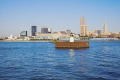 Cleveland - Skyline gesehen vom Eriesee stockfoto