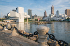 Cleveland Skyline from Harbor Walkway Harbor Walkway Royalty Free Stock Image