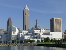Cleveland Skyline II. Cleveland skyline on a sunny day with Science Center in the foreground Stock Photography