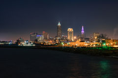 Cleveland Skyline at Night Royalty Free Stock Image