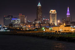 Cleveland Skyline at Night Stock Images