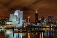 Cleveland Skyline at Night. The Cleveland, Ohio skyline on an overcast night with the Rock and Roll Hall of Fame and reflections in the water Stock Photos