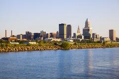 Cleveland skyline seen from Lake Erie. Cleveland, Ohio, USA stock image