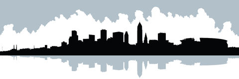 Cleveland Skyline. Skyline silhouette of the city of Cleveland, Ohio, USA Royalty Free Stock Image
