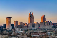 Cleveland Skyline at Sunset Stock Photography
