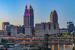 Cleveland Skyline at Sunset Royalty Free Stock Image