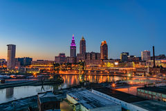Cleveland Skyline at Sunset Royalty Free Stock Photography