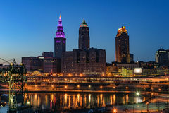 Cleveland Skyline at Sunset Royalty Free Stock Images