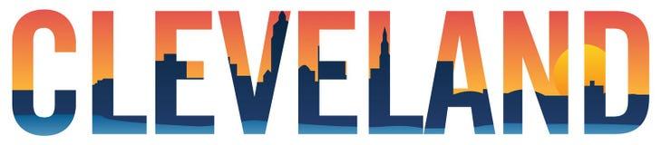 Cleveland-Skyline in Text lokalisierter Vektorgraphikillustration lizenzfreie abbildung