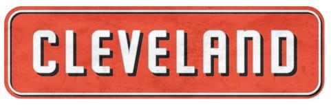 Cleveland Street Sign in Browns Colors NFL. Grunge orange black white retro vintage PA royalty free stock image