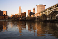 Cleveland at sunset. Downtown Cleveland, Ohio at sunset royalty free stock images