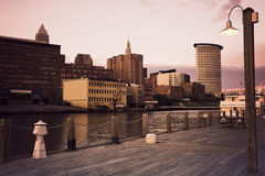 Cleveland during sunset. Downtown seen accross Cuyahoga River royalty free stock photos