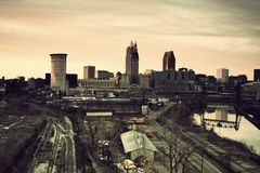 Cleveland during sunset. Panorama of the city with Cuyahoga River stock photos