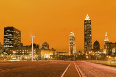 Cleveland after sunset. Cleveland, Ohio after sunset, winter time stock photography