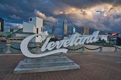 Cleveland & Sunset. Photo of the city of Cleveland at the sunset time royalty free stock photo