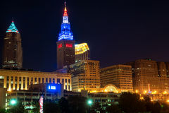 Cleveland towers. CLEVELAND, OH - MAY 28, 2016: View of Cleveland's three tallest buildings—the Key Tower, the Terminal Tower, and the BP building—lit up at Royalty Free Stock Image